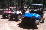 Polaris RANGER EV, RZR S and RZR in the Plumas National Forest