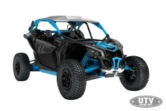 2018 Maverick X3 X rc TURBO R Carbon Black and Octane Blue_3-4 front