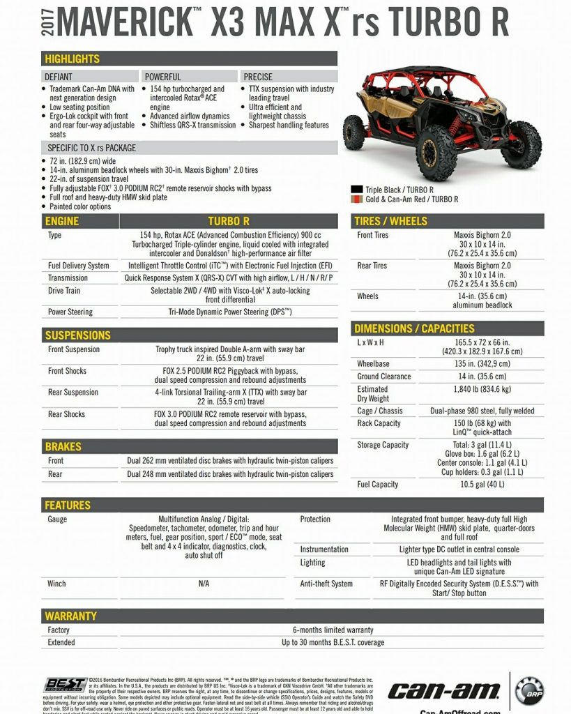 Can-Am Maverick X3 MAX Specifications