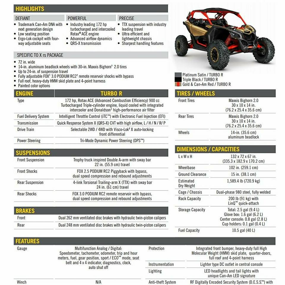 2018 Can-Am Maverick X3 Specifications