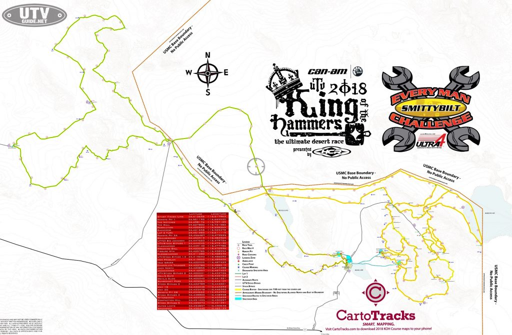 2018 King of the Hammers Course Map