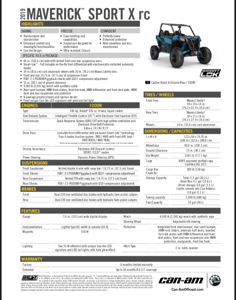 Can-Am Maverick Sport RC Specifications