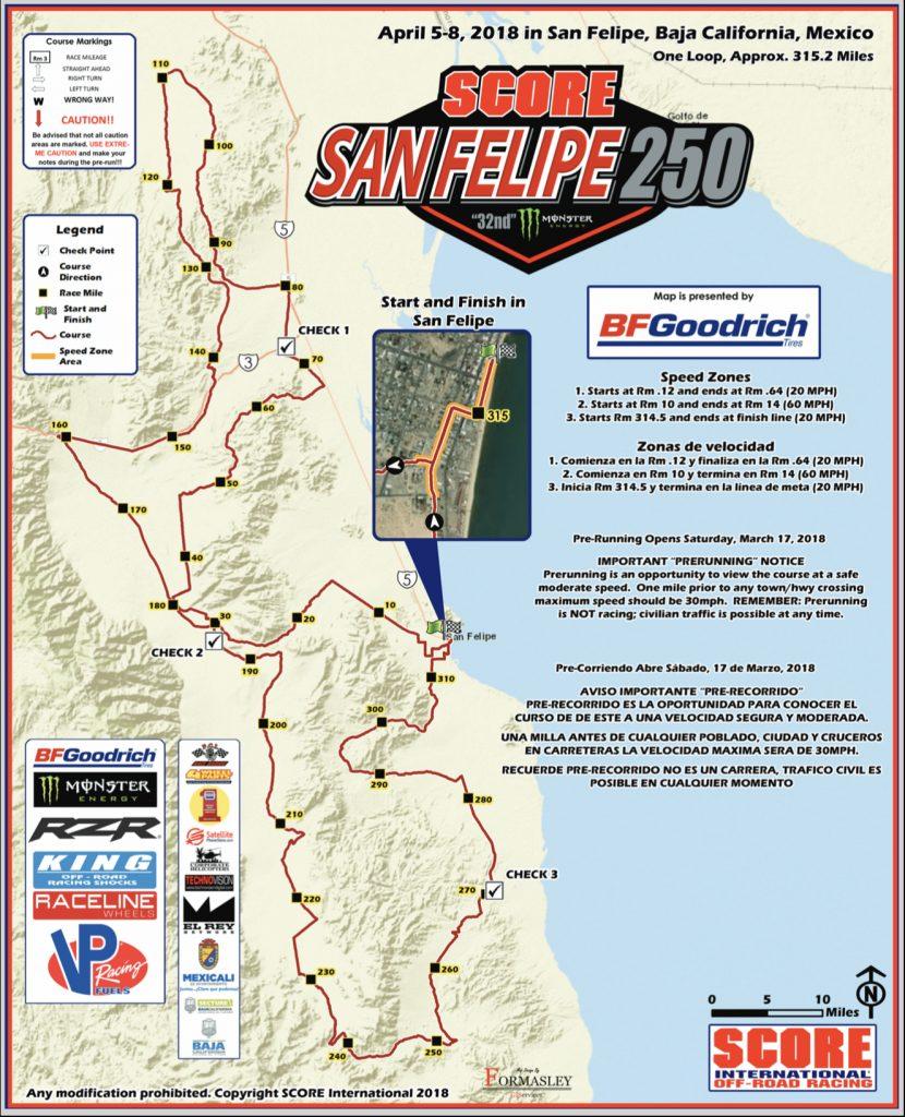 SCORE San Felipe 205 Course Map