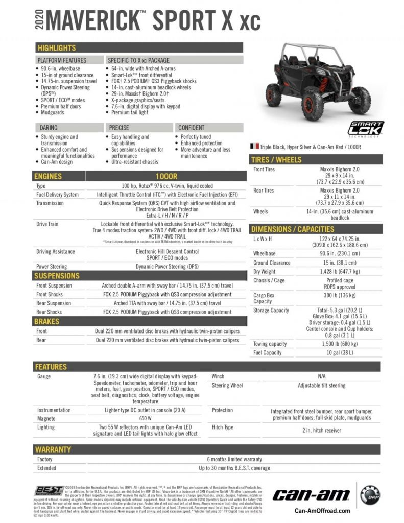 2020 Can-Am Maverick Sport X xc 1000R Specifications