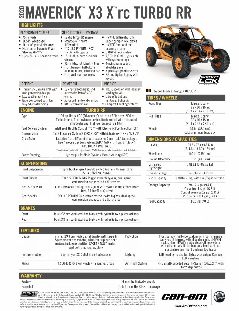 2020 Can-Am Maverick X3 X rc Turbo RR specifications