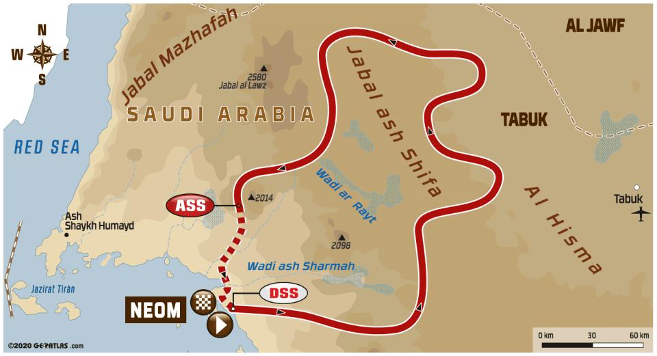 2020 Dakar Rally Stage 3 Map