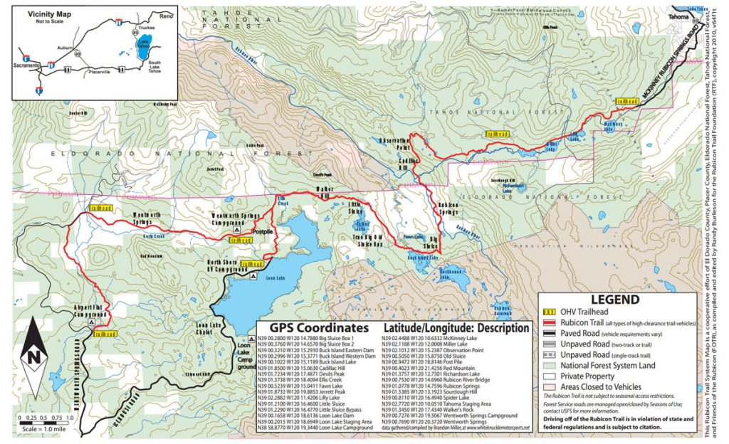 Rubicon Trail Map
