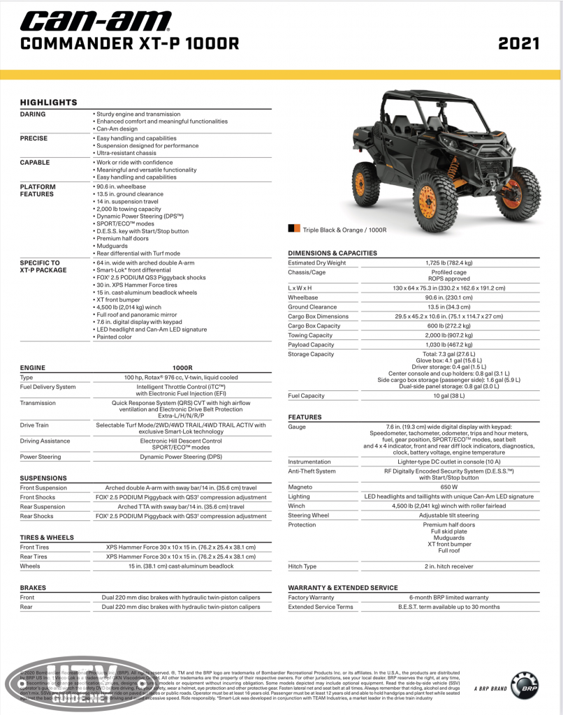 2021 Can-Am Commander XT-P Specifications