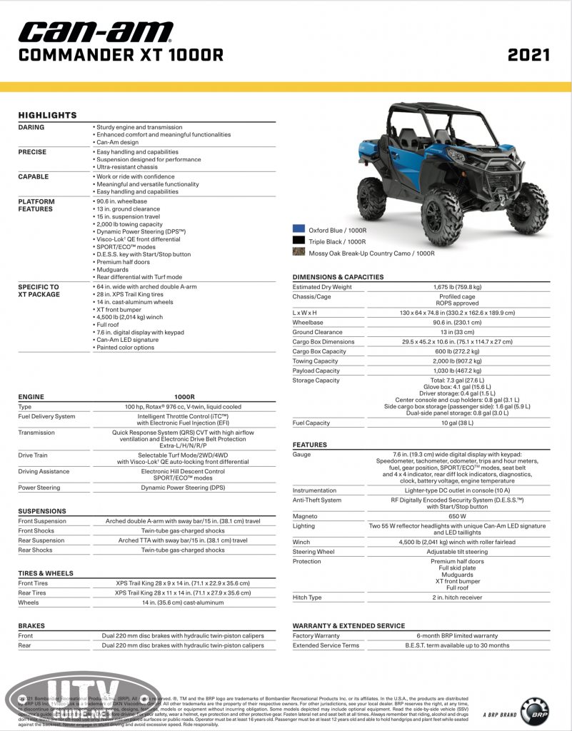 2021 Can-Am Commander Specifications