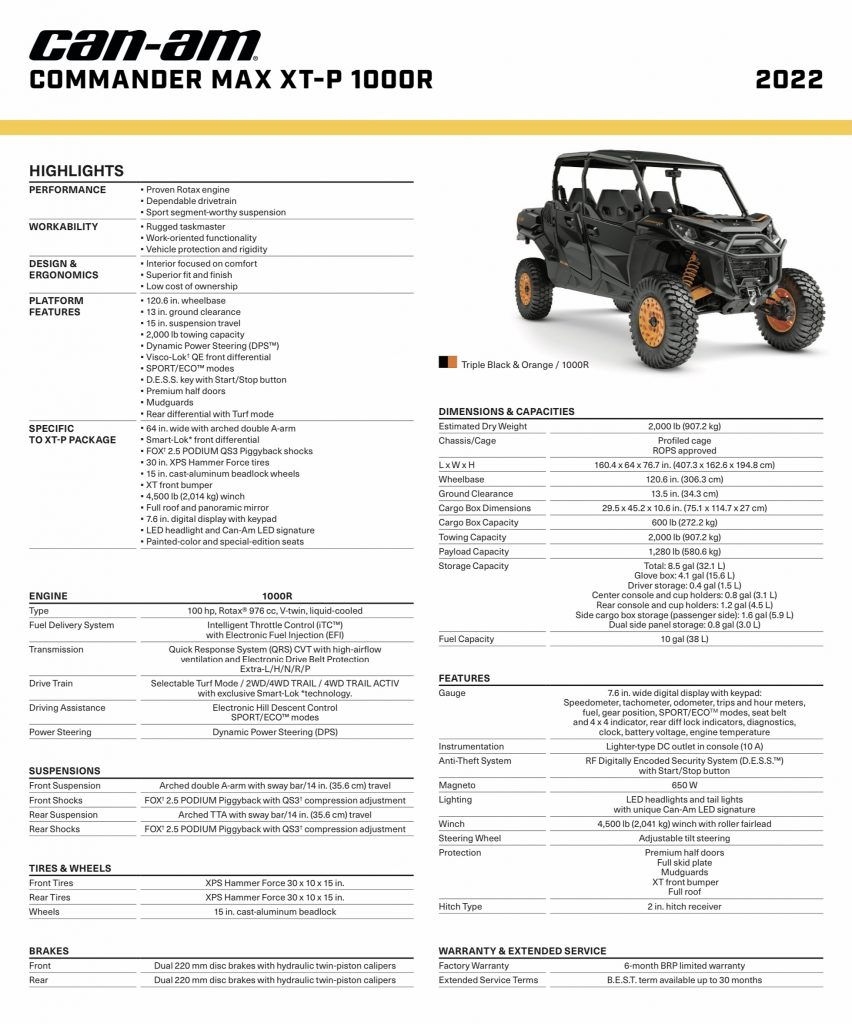 2022 Can-Am Commander Max XT-P Specifications